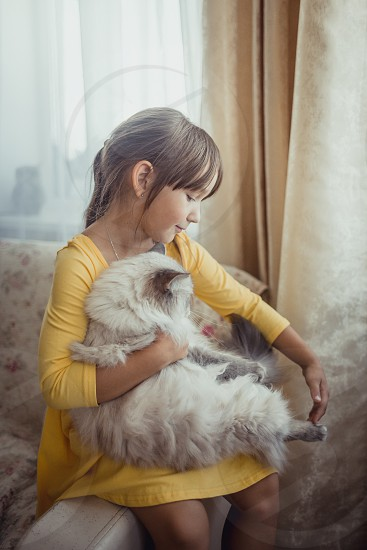 Girl with neva masquerade cat at home. photo