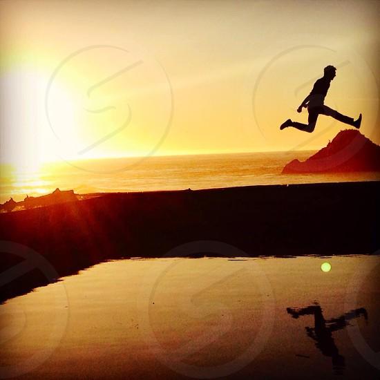 Sunset jump photo