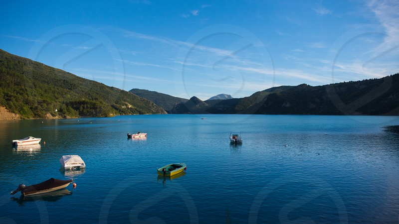 Boats at Lac de Sainte Croix photo