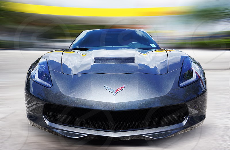 selective focus photography of corvette blue and gray sports car photo