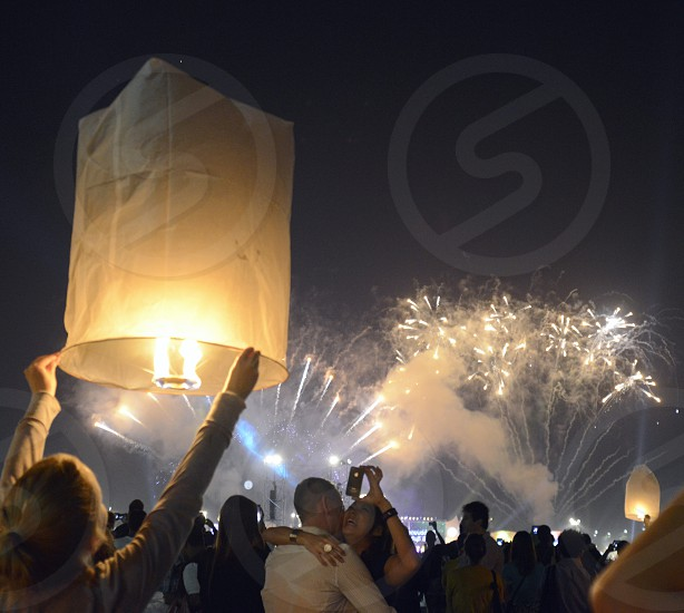the happy new year parts at midnight at the Sanam Luang Park in Banglamphu in the city of Bangkok in Thailand in Southeastasia. photo