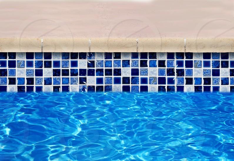 blue pool tiles photo