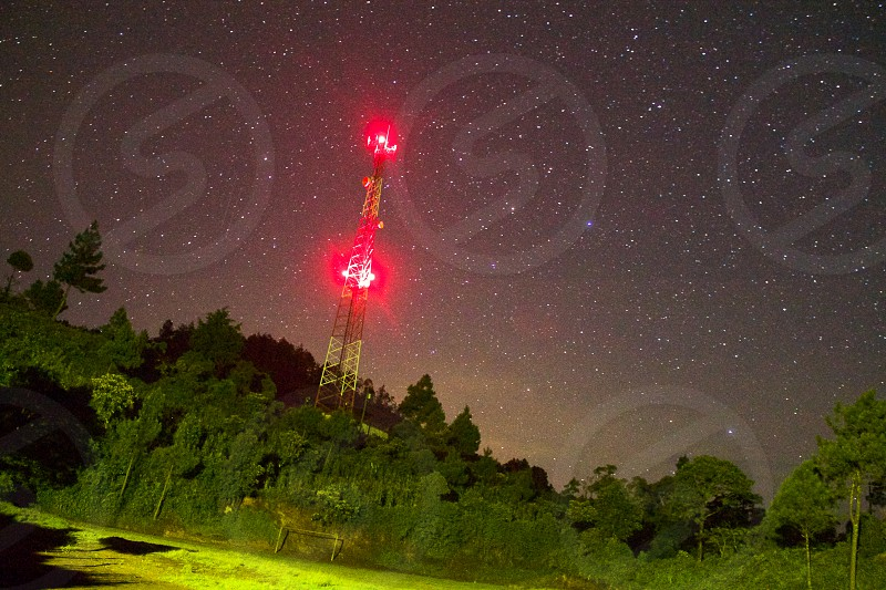 Cellular tower star stars astrophotography night  photo
