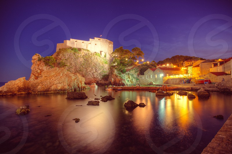 Dubrovnik Lovrijenac fort night sea photo