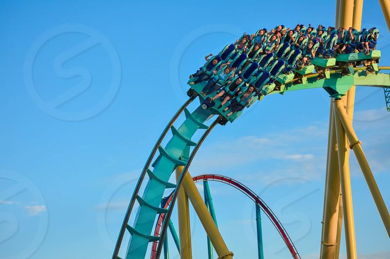 Orlando Florida . February 26  2019. People having fun terrific Kraken rollercoaster at Seaworld Theme Park (10) photo
