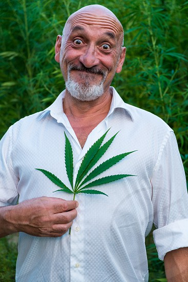 A man with a funny face holds a leaf of marijuana in his hand photo