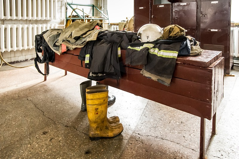 Fire Department - backstage lifestyle of real heroes. No people. photo