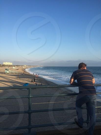 Pacific Ocean Santa Monica pier Venice beach horizon views beach ocean  photo