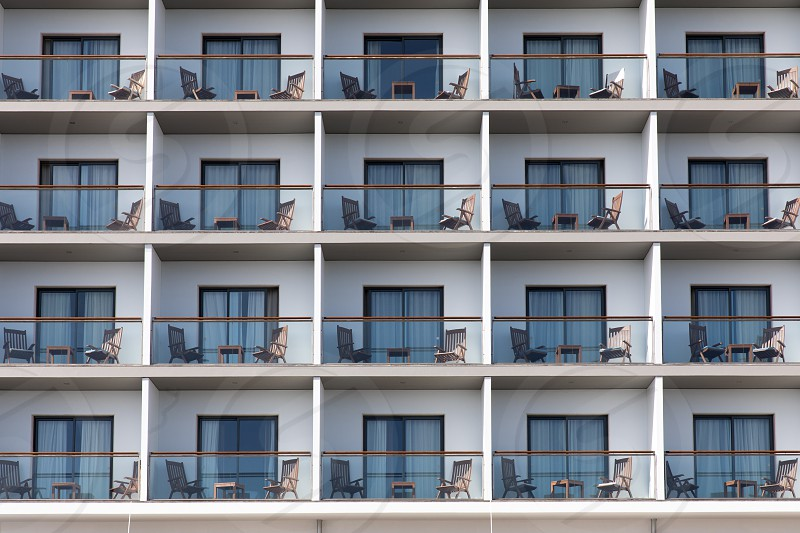 Rows of hotel balconies in Portugal photo