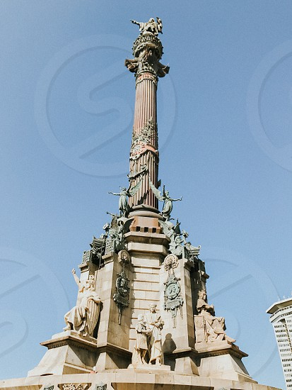 Shot of Columbus Monument in Barcelona photo