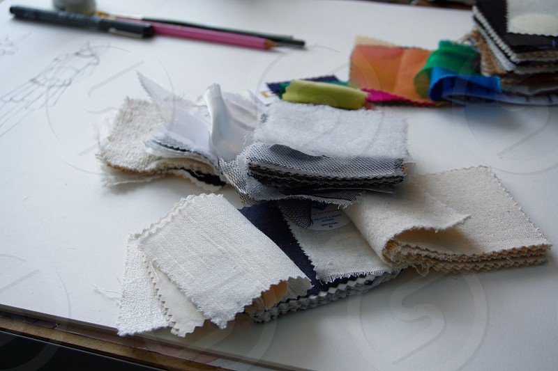 fashion drawing with fashion fabric samples photo