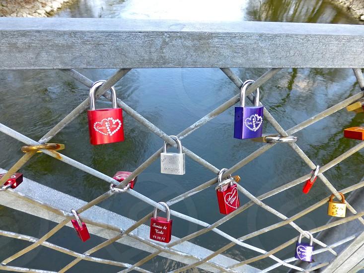 Padlocks on the bridge. photo