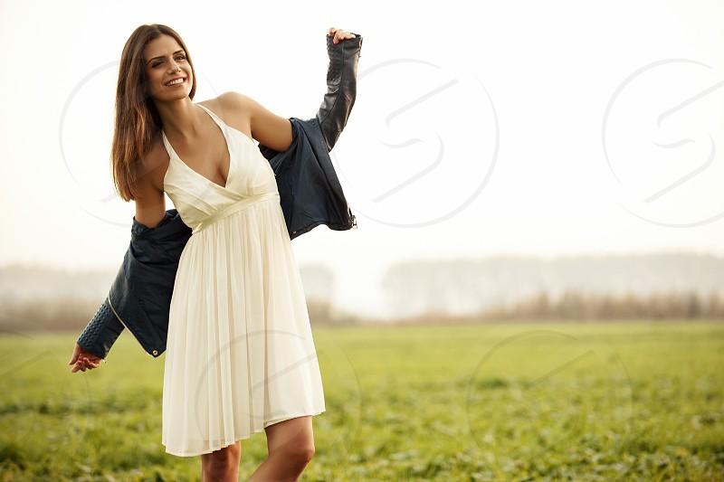 Woman in field photo