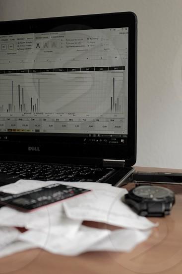 Finance money calculation calculator recipes cash laptop banking charts card credit card photo