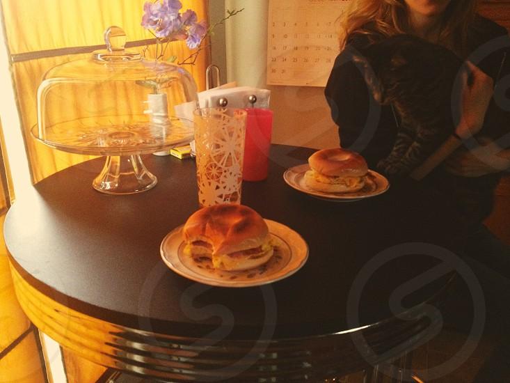 bread on white ceramic plate photo