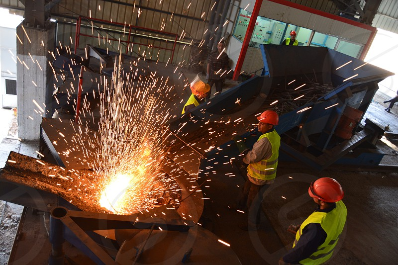 Asron iron workers the factory huge iron  photo