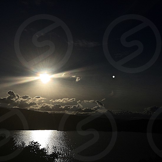 Lake Windermere ; Lake District; Solstice; Water; Sky; Clouds; Light; Night; Night time; magic; mystery photo