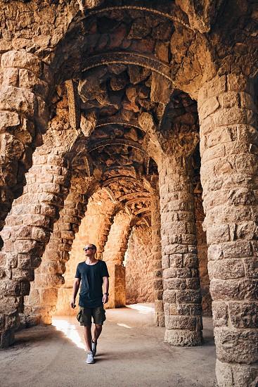 Spain barcelona travel park man people walking photo
