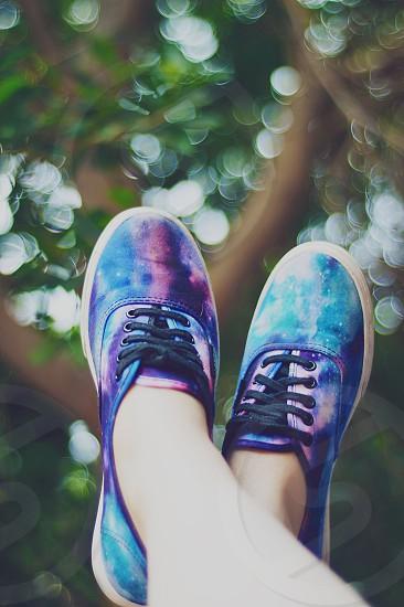 bokeh feet shoes fashion style Vans Off the Wall Vans galaxy skate shoes photo