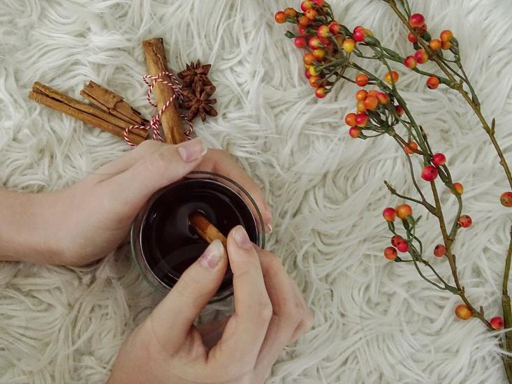 mittens hot drink tea decoration drink wooden background fingershands gloves wintertime winter season relaxing enjoy spices cinnamon stickswarmth fruit star aniseanise flower photo