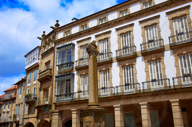 Santiago de Compostela end of Saint James Way Plaza de Cervantes square in Galicia Spain photo