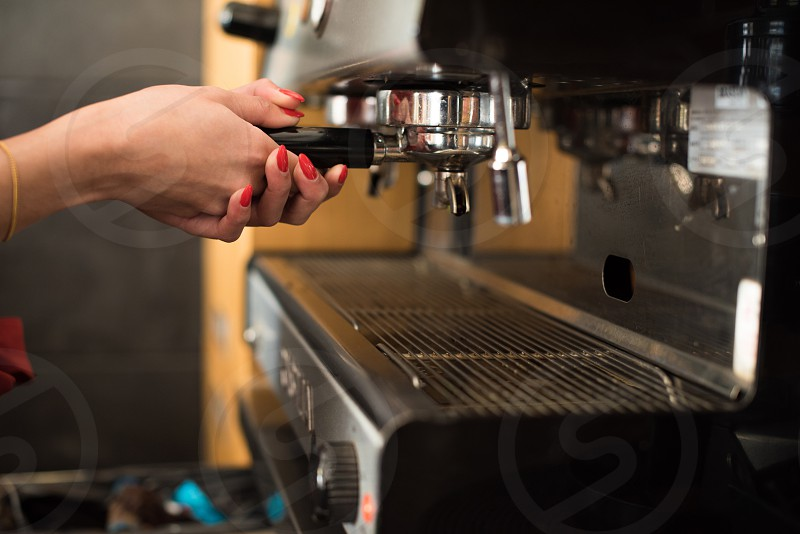 coffee bar machine hands woman restaurant photo