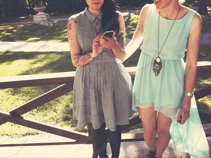 women's gray sleeveless dress  photo