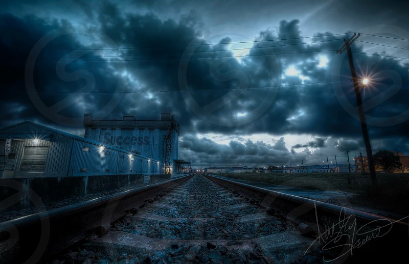 Railroad Houston Texas HDR Landscapes gloomy cloudy night nighttime dreary moody mood overcast photo