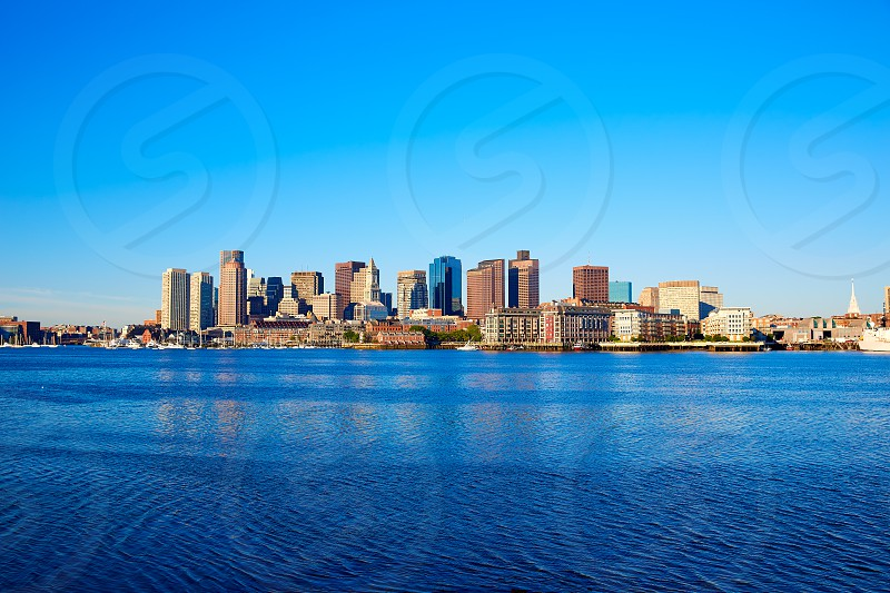 Boston skyline with river in sunlight at Massachusetts USA photo