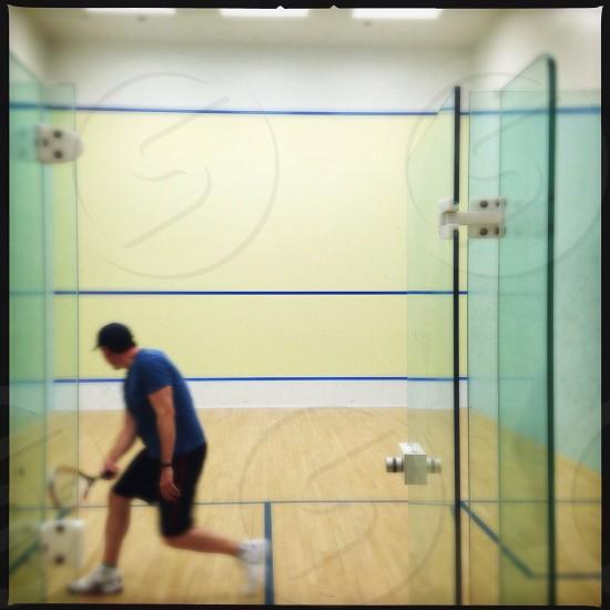 Man practicing squash  photo