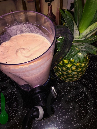 Fruit smoothie healthy tropical strawberries pineapple  photo