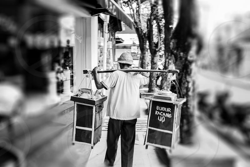 Balinese mobile food vendor. photo