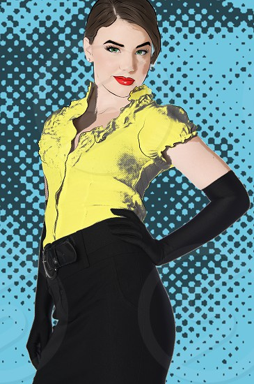 art pin up woman cartoon pop art pop culture graphic fashion model photo