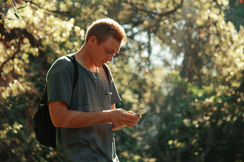 man in gray t-shirt using his smartphone near trees during daytime photo