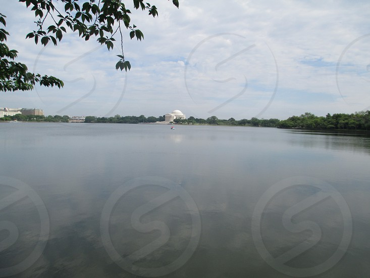 the potomac river with the jefferson memorial in the distance photo