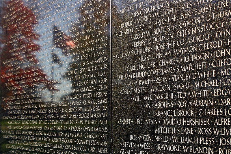 """The American flag is reflected in the Vietnam Veterans memorial: """"The Wall"""" photo"""