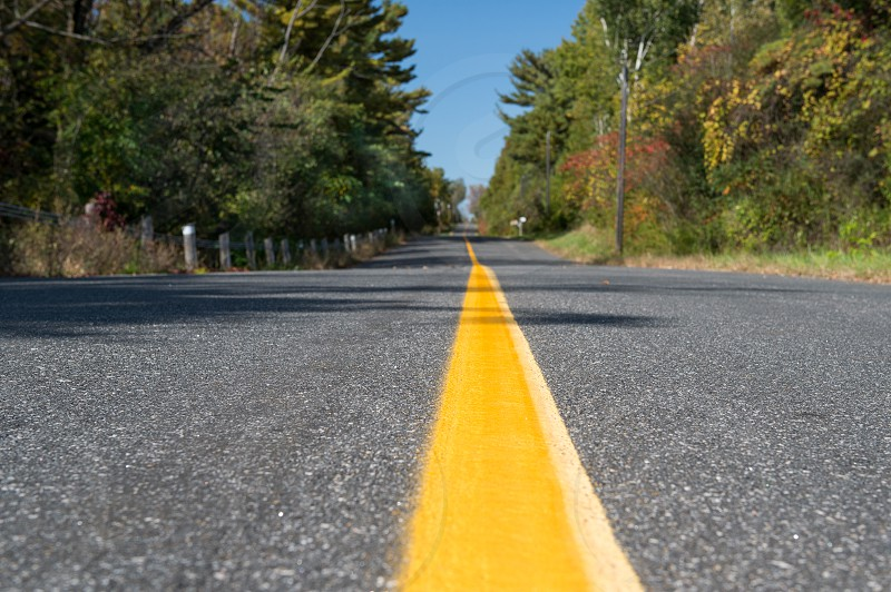 Open Road with Yellow Dividing Centre Line photo
