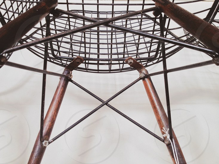 Chair design structure metal wire wood mid-century furniture abstract lines photo