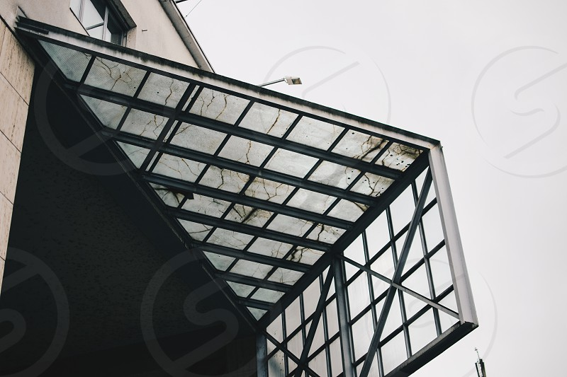 Glass roof on an old urban building. photo