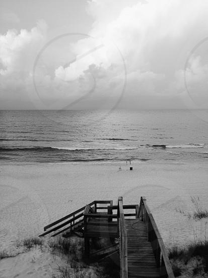 Seagrove Beach FL boardwalk black & white ocean photo