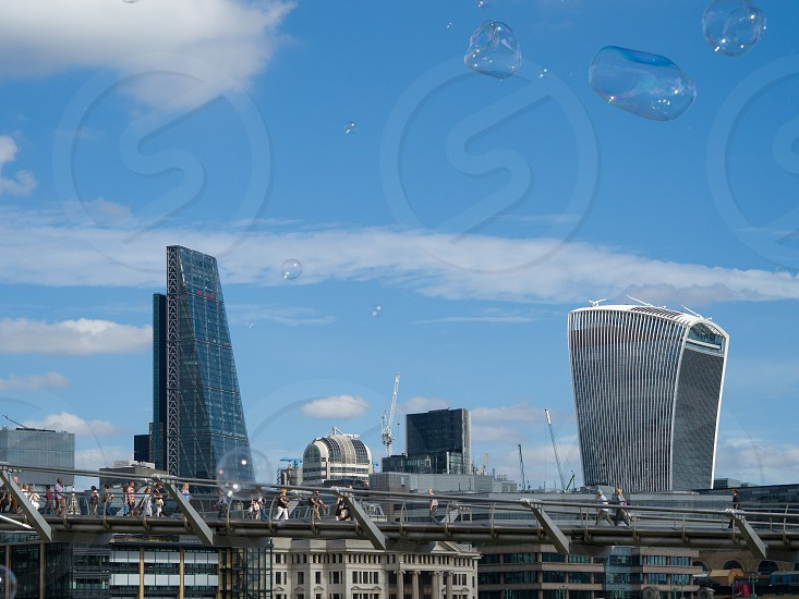 Bubbles Blowing across the City of London Skyline photo