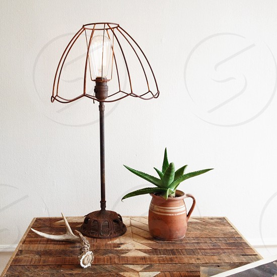 brown metallic table lamp photo