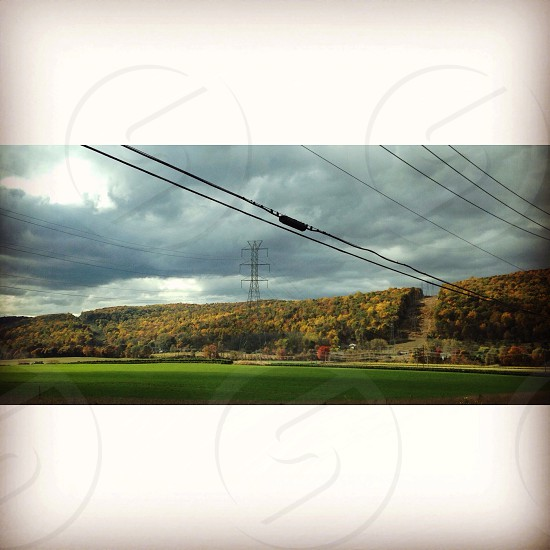 Rural warren county nj Donaldson farms with the power lines  photo