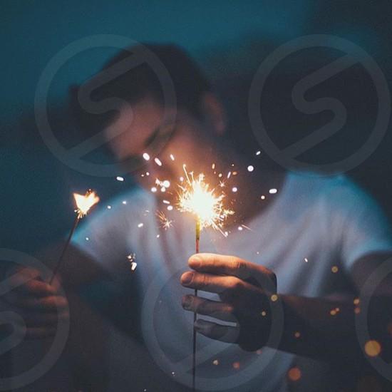 Fireworks lights cute dark fun summer grudge retro men photo