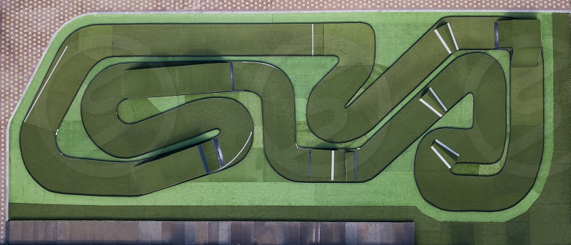 High-speed race track road for remote-controlled cars. Top view. photo
