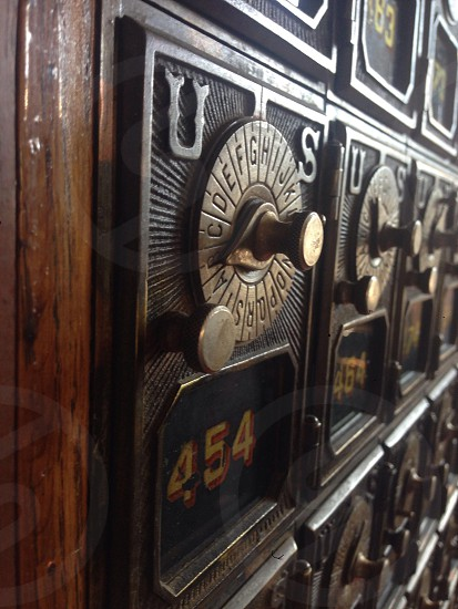 Antique post office boxes in Steilcoom photo