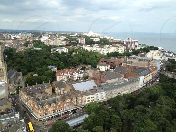 Aerial view of Bournemouth town with sea in background   photo