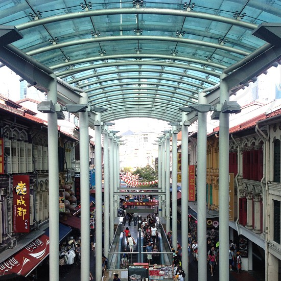 2 story mall interior and glass ceiling photo
