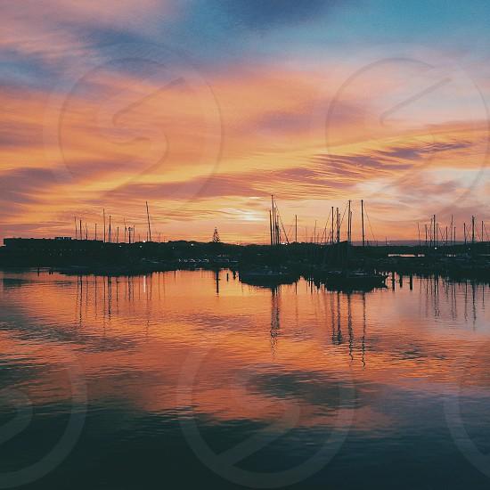 Sun setting over Napier New Zealand photo