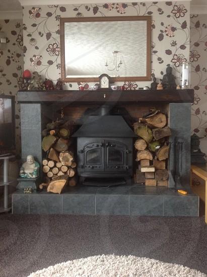 My log burning fire photo